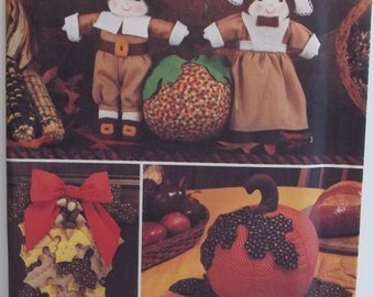 Pilgrim Dolls and Fall Crafts Simplicity 7188 Fall Craft Sewing Pattern Autumn Leaf Wall Hanging, Door Decor,  Autumn Stuffed Pumpkin, UNCUT