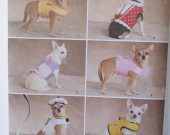 Dog Clothing, Simplicity 2393 Sewing Pattern, Dog Jackets Canine Clothing, Pet Vest Puppy Beret and Leash, Small Dog Sizes  1 - 8 lbs. UNCUT
