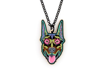 Doberman - Cropped Ear Edition - Day of the Dead Sugar Skull Dog Necklace