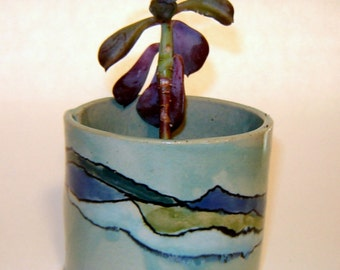 Succulent Planter Turquoise Ceramic Utensil Holder Cup with Ocean Design