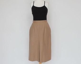70's / 80's  Center Pleat Skirt / Camel / Side Pockets / Small to Medium