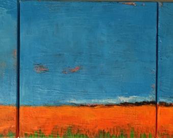 "Under Clouds Tryptich - Original Acrylic Oil Encaustic Landscape Painting- 24"" x 8"""