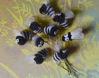 Vintage Chenille Bumble Bee Picks Lot of 9