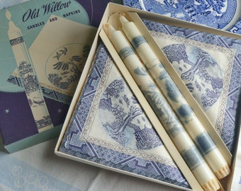 Vintage Old Willow Candles and Napkins Set Aladdin Denmark Unused