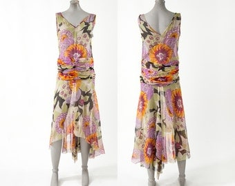 Vintage 1920s Silk Dress, 20s Floral Silk Chiffon Flapper Dress, Sleeveless Shift, Asymetrical Hem, Women's Clothing, Dresses