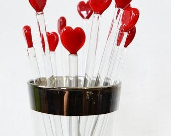 heart stir sticks, vintage heart swizzle sticks, vintage glass stir sticks
