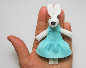 Gift daughter Miniature white felt rabbit bunny in a matchbox plush white mint green pastel Easter stuffed animal doll cute  kids gift