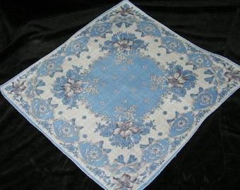 "Vintage 1940's 13 1/2"" Blue Floral Wedding Handkerchief or Doily, 9755"