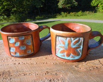 Wood fired Shino coffee mugs, soup mugs, set of two, stoneware, split-fire pottery, rustic, beverage, coffee, soup,chile, drinking, pottery