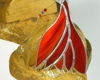 Red Stained glass Fuchsia Suncatcher & Window ornament