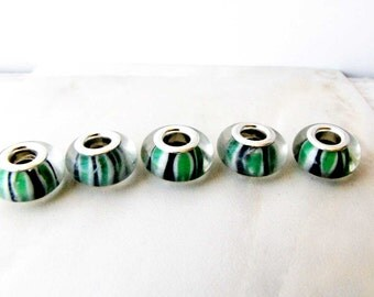 Black Green White Lampwork Glass Jewelry Design Craft Supply European Charm 5 beads LW 3