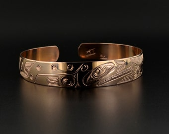 """14k Rose Gold Native Bracelet Orca Chasing Salmon 1/2"""" Wide Symbol of Life Cycle"""