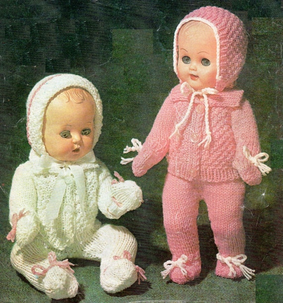 Free Vintage Knitting Patterns For Dolls Clothes : PDF Pattern / Vintage Dolls Clothes Knitting Pattern / 8ply Double Knit Yarn ...