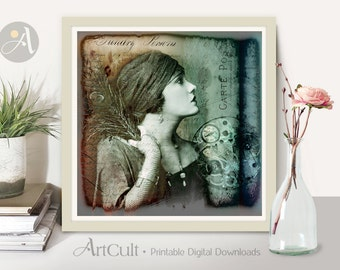 Printable Wall Art GLAMOUR MODEL Digital Download 8x8 inch size Image for Home decoration and DIY craft and scrapbooking designed by ArtCult