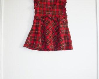 Vintage Red Plaid Girl's Dress