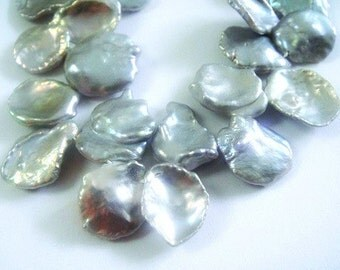 Gray Keishi Pearls,  Freshwater Pearls, Cornflake Pearls, High Quality, 9-11x8mm approx, June Brides 3 inch strand