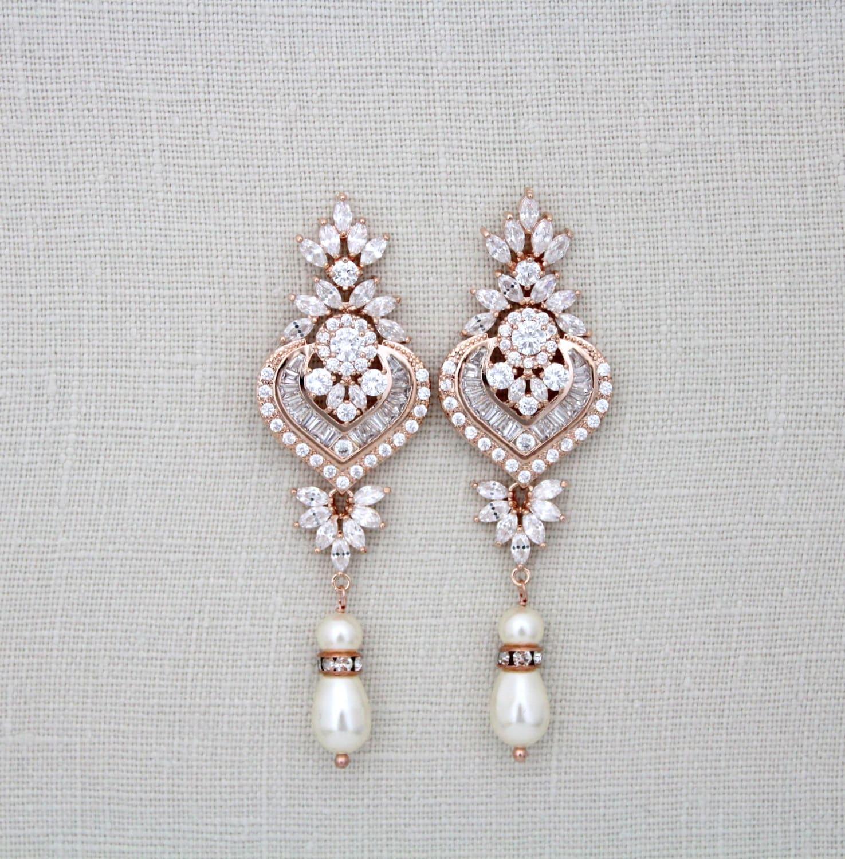 Rose Gold Bridal earrings Rose Gold Chandelier by treasures570
