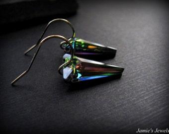 Gold Spike Earrings -Swarovski Crystal Spike Earrings -  Everyday Earrings - Modern Earrings Crystal - Aurora Borealis Crystal Earrings