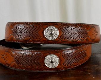 Western Leather Belt, Western Belt, Silver Coins, Hand Carved Belt, Braided Leather, Brown Western Belt,