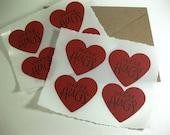 Sending Hugs Heart Shaped Stickers Valentine Hand Stamped Envelope Seals Set of 8