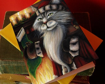 Santa Cat Christmas Card, Silver Tabby in Santa Suit 5x7 Blank Greeting Card