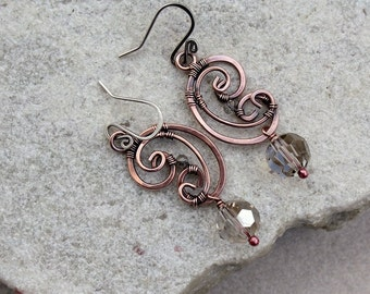Grey Wire Wrapped Earrings, Antique Copper, Wire Wrapped, Handmade, Sterling Silver Earwires