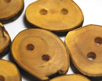Handmade Wooden Tree Branch Buttons, Rustic Wood Buttons, Natural Grapefruit Wood Buttons, Set of Seven, Mixed Sizes