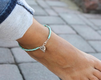 Turquoise and Sterling Silver Anklet