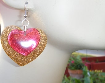 BIG ASS EARRINGS - Fun Large Boho Valentine 1 1/2 inch (40mm) Gold Glitter Heart n Small Transparent Red Heart - Nickel Free Hook or Clip On