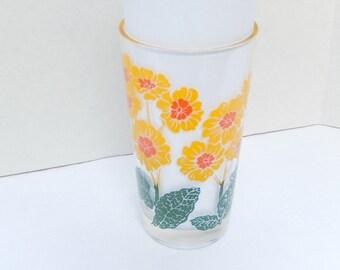 vintage Boscul peanut butter glass, Primrose, yellow, 5 inches, collectible glass, Mauzy, vintage kitchen, flower design