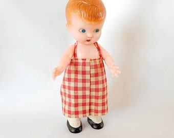 vintage Knickerbocker doll, rattle doll, original clothes, 1940s/1950s, small doll