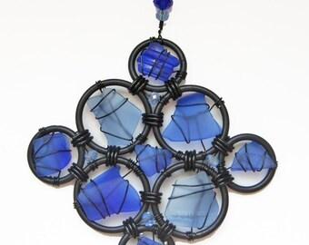 Sea Glass Suncatcher Ornament in Shades of Blue