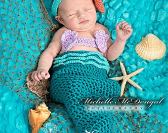 Newborn Baby Girl Mermaid Tail Costume Set, 0 to 3 Month Turquoise Mermaid Tail Photo Prop