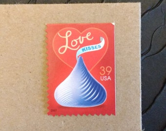 LOVE .. Hershey Kiss 39cent .. 10 postage stamps