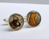 Cufflinks UPCYCLED vintage Winnie the Pooh and Piglet images from childrens book RECYCLED into silver plated cufflinks