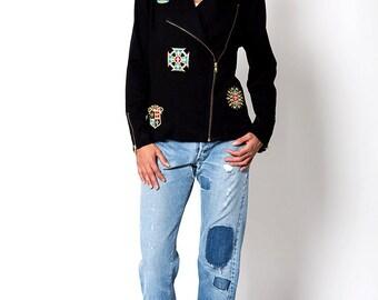 The Vintage Regal Crown Patch Black Moto Jacket
