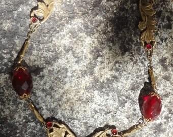 SALE--Vintage Art Nouveau Necklace--Red Stones