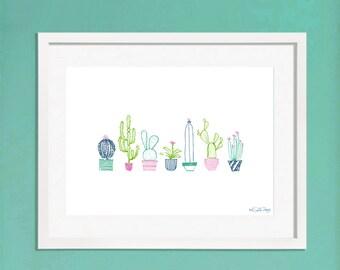 Cactus Digital Art Print / Cactus Illustration / Succulent Wall Art / Digital Wall Art / A5 Art Print / A4 Art Print / / Christmas Gift Idea