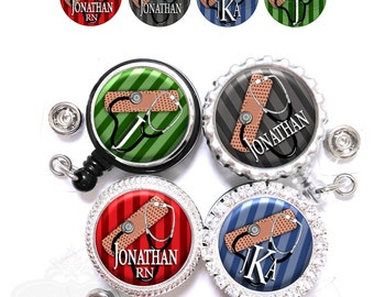Male Stripes Badge Reel - Personalized Band-aid and Stethoscope Retractable Lanyard ID Holder with Name, Monogram, Occupation Title (A304)