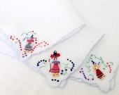 3 Linen Handkerchiefs Embroidered Women