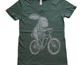 Rabbit on a Bicycle - Womens T Shirt, Ladies Tee, Tri Blend Tee, Handmade graphic tee, sizes s-xL