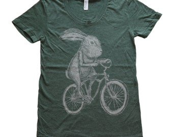 Rabbit on a Bike - Womens - American Apparel - Heather Forest 50/50 Tee