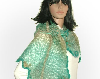Turquoise Freestyle knitted Womens scarf shawl wrap Stole with OOAK freeform crochet motifs & glass beads