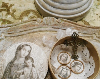 Round Religious Altered Paper Mache Inspiration Box