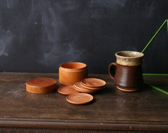 Wood Coaster Set Simple Beautiful Very Well Made Host Gift Vintage From Nowvintage on Etsy