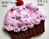 Handmade hand knit Cupcake Hat with Cherry on Top Milk Chocolate Brown Cake Cotton Candy Pink Frosting Sprinkles 2 3 4 5 6 year old child