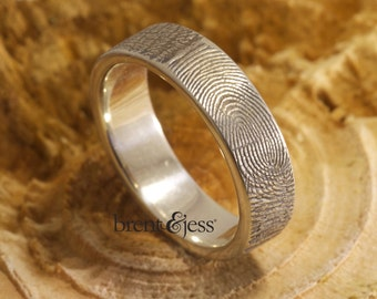 Personalized Custom Handcrafted Fingerprint Wedding Ring in Sterling Silver with Exterior Fingerprint Wrap - 6mm Wide