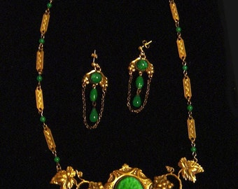 SADIE GREEN Art Nouveau Revival Necklace & Earrings