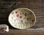 Pottery Soap Dish with Garden Illustration - Oval Soap Dish - by DirtKicker Pottery