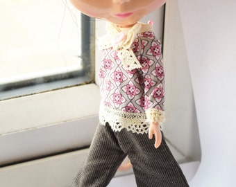 Fantastic brown pinstripe flared trouser for Blythe doll